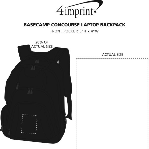 Imprint Area of Basecamp Concourse Laptop Backpack