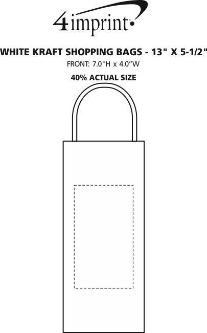 "Imprint Area of White Kraft Shopping Bag - 13"" x 5-1/2"""