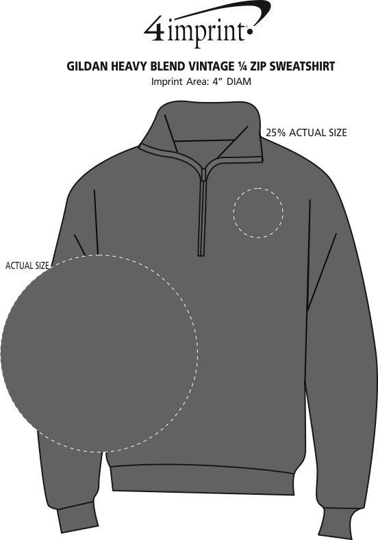 Imprint Area of Gildan Heavy Blend Vintage 1/4-Zip Sweatshirt - Embroidered