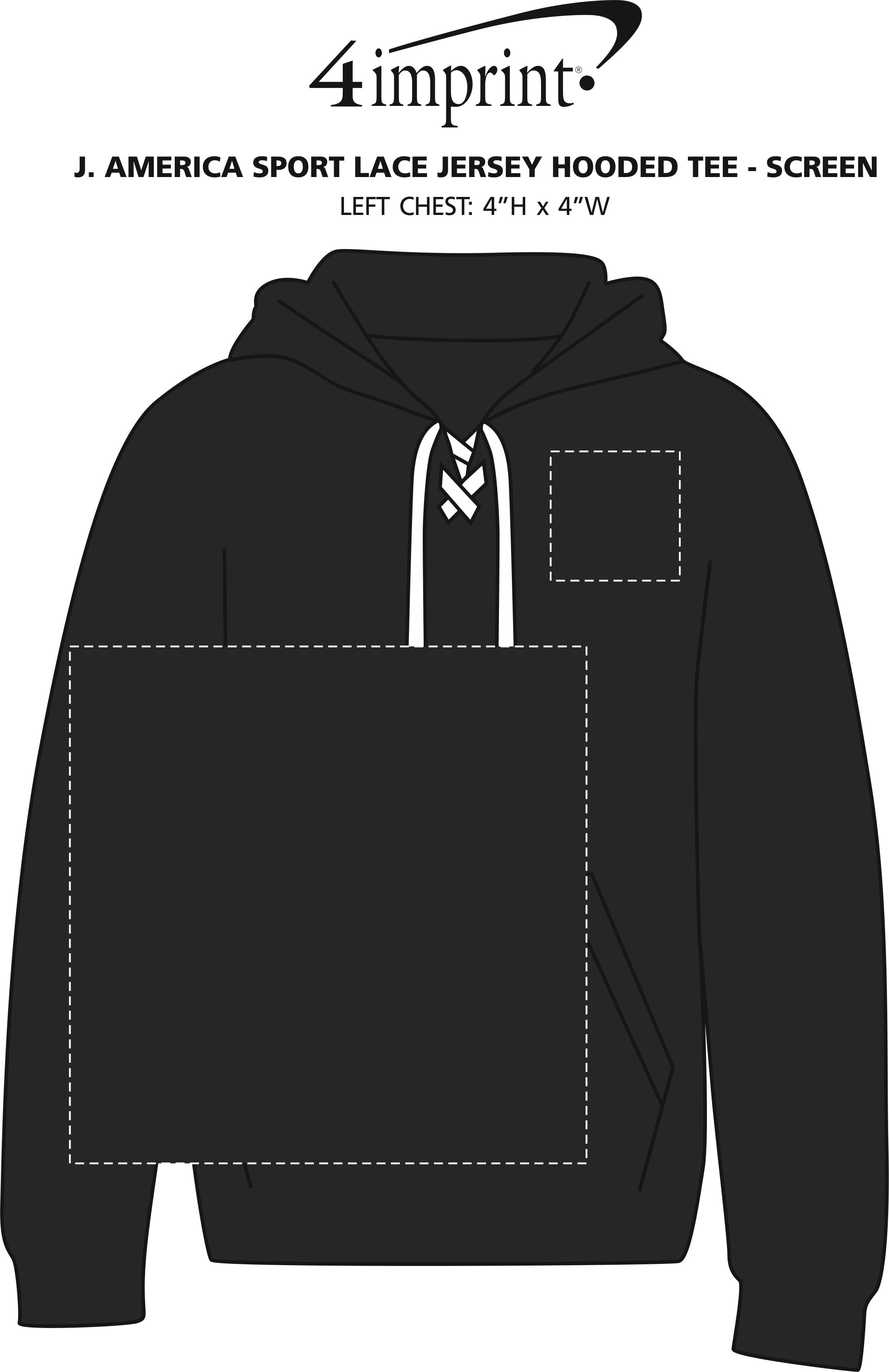 Imprint Area of J. America Sport Lace Jersey Hooded Tee - Screen