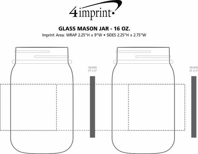 Imprint Area of Glass Mason Jar - 16 oz.