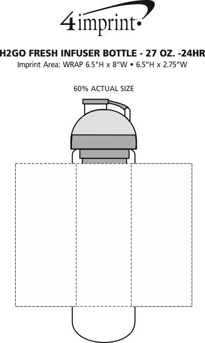 Imprint Area of h2go Fresh Infuser Bottle - 27 oz. - 24 hr