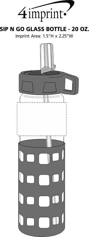 Imprint Area of Sip N Go Glass Bottle - 20 oz.