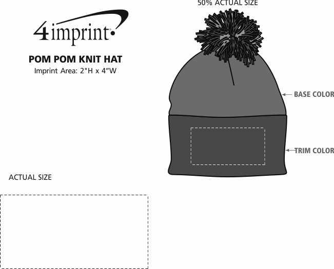 Imprint Area of Pom Pom Knit Hat