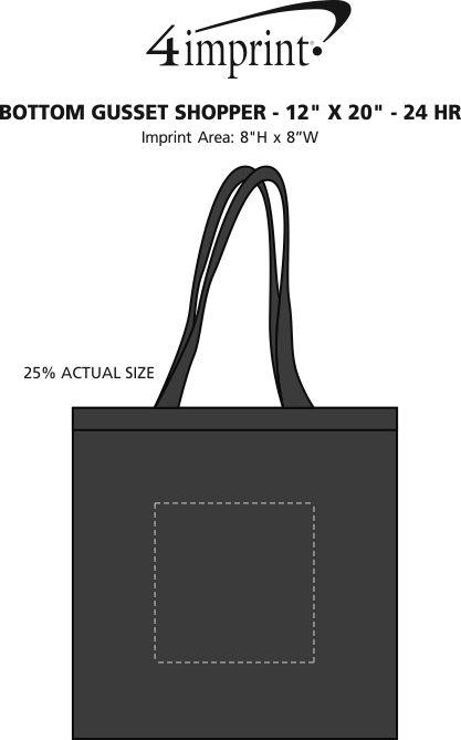 "Imprint Area of Bottom Gusset Shopper - 12"" x 20"" - 24 hr"