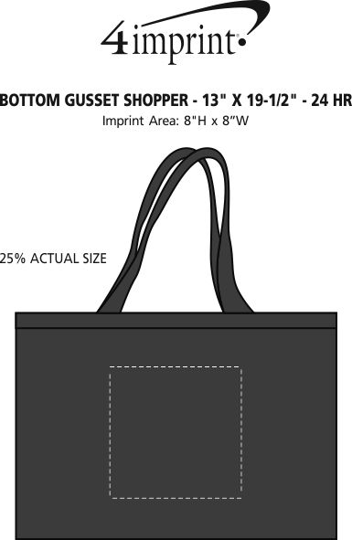 "Imprint Area of Bottom Gusset Shopper - 13"" x 19-1/2"" - 24 hr"