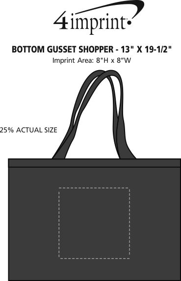"Imprint Area of Bottom Gusset Shopper - 13"" x 19-1/2"""