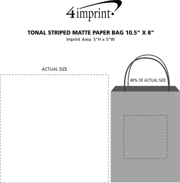 "Imprint Area of Tonal Striped Matte Paper Bag - 10-1/2"" x 8"""