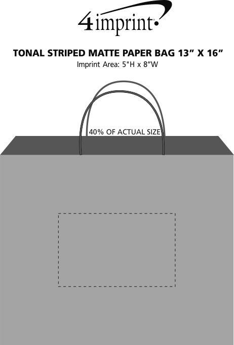 "Imprint Area of Tonal Striped Matte Paper Bag - 13"" x 16"""