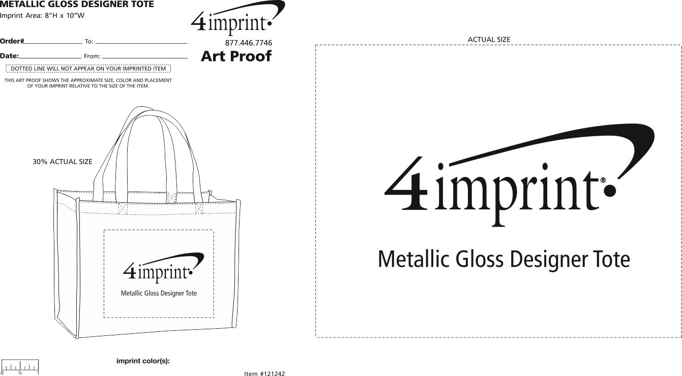 Imprint Area of Metallic Gloss Designer Tote