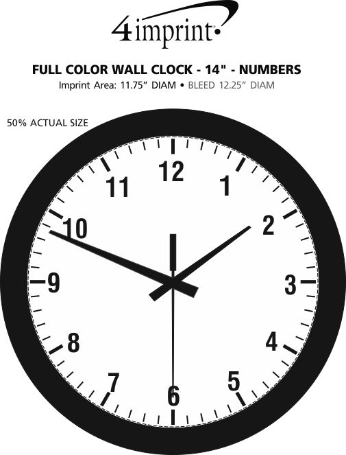 """Imprint Area of Full Color Wall Clock - 14"""" - Numbers"""