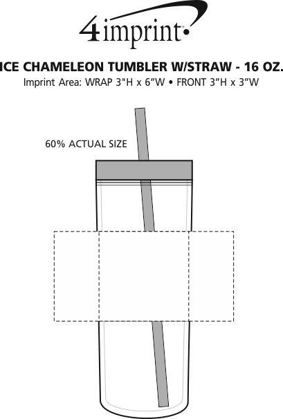 Imprint Area of Ice Chameleon Tumbler with Straw - 16 oz.