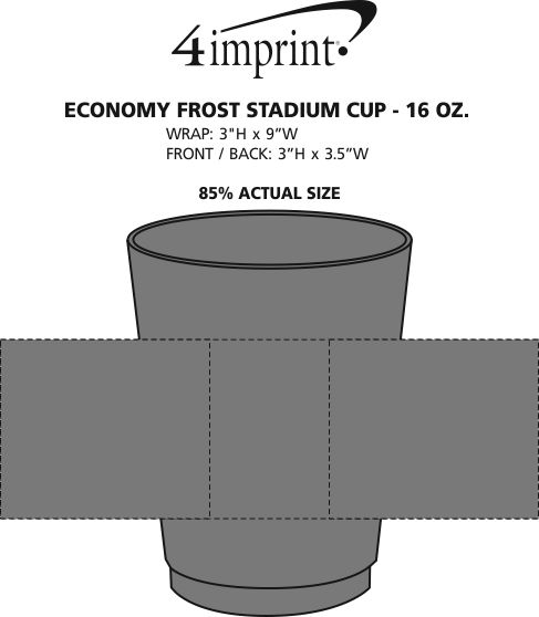 Imprint Area of Economy Frost Stadium Cup - 16 oz.