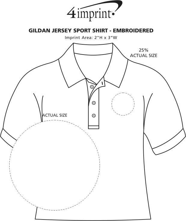 Imprint Area of Gildan Cotton Jersey Sport Shirt - Embroidered
