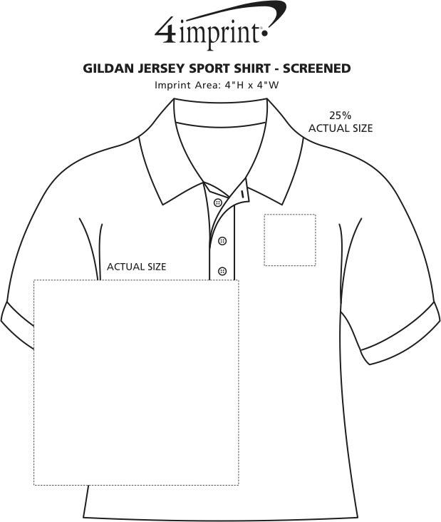 Imprint Area of Gildan Cotton Jersey Sport Shirt - Screen