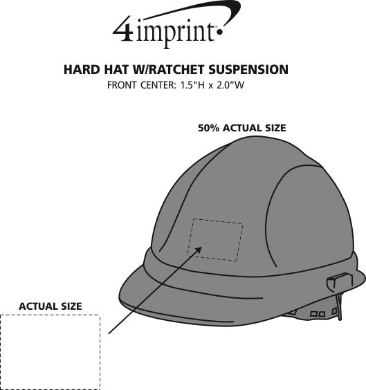 Imprint Area of Hard Hat with Ratchet Suspension