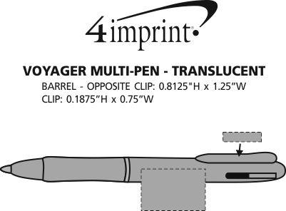 Imprint Area of Voyager Multi-Ink Pen - Translucent
