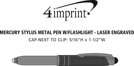 Imprint Area of Mercury Stylus Metal Pen with Flashlight - Laser Engraved