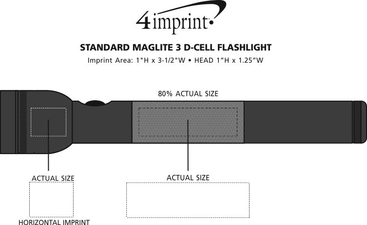Imprint Area of Standard MagLite 3 D-Cell Flashlight