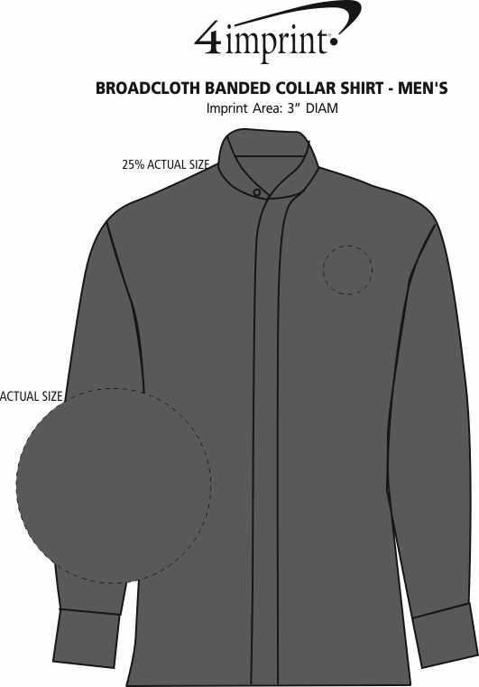 Imprint Area of Broadcloth Banded Collar Shirt - Men's