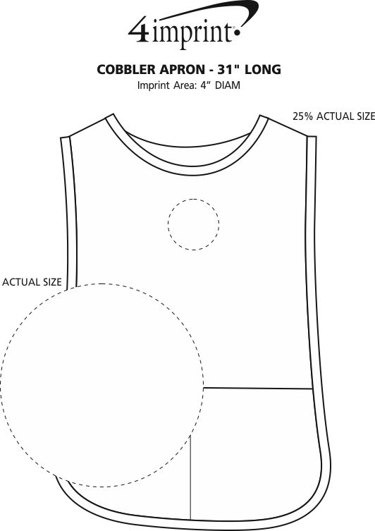 "Imprint Area of Cobbler Apron - 31"" Long"