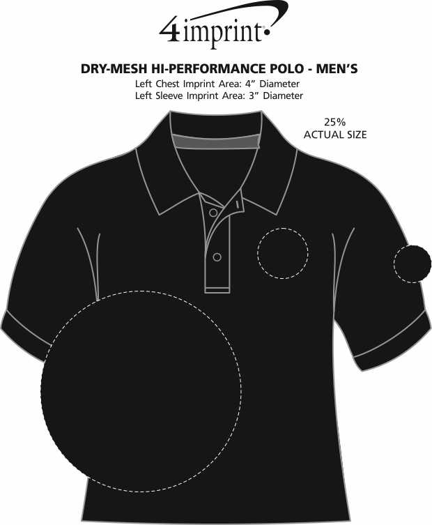 Imprint Area of Dry-Mesh Hi-Performance Polo - Men's - Embroidered