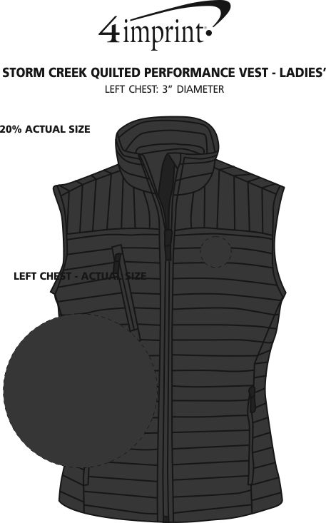 Imprint Area of Storm Creek Quilted Performance Vest - Ladies'