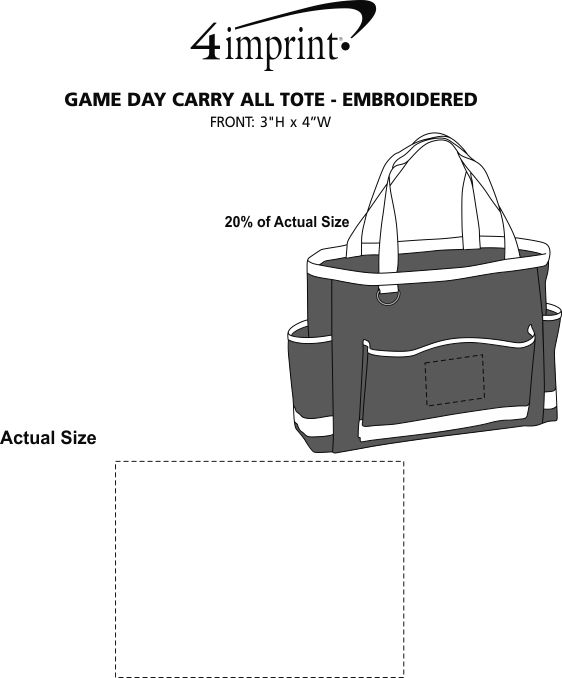 Imprint Area of Game Day Carry All Tote - Embroidered