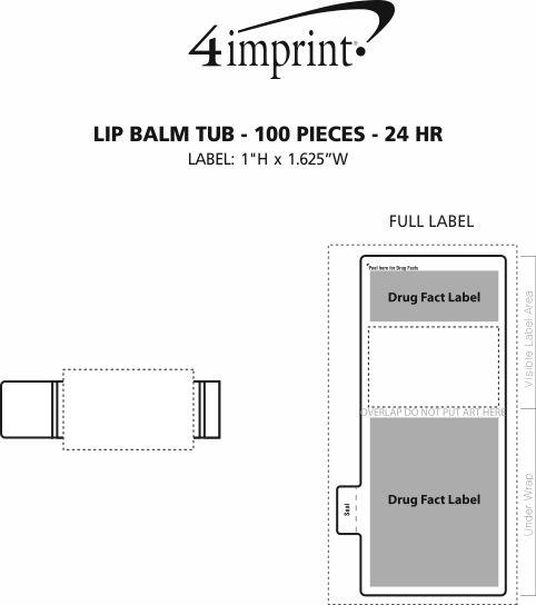 Imprint Area of Lip Balm Tub - 100 pieces - 24 hr