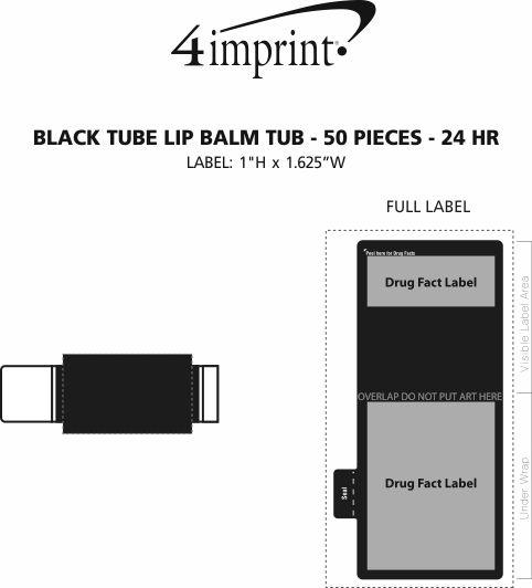Imprint Area of Black Tube Lip Balm Tub - 50 pieces - 24 hr