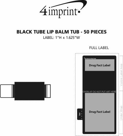 Imprint Area of Black Tube Lip Balm Tub - 50 pieces
