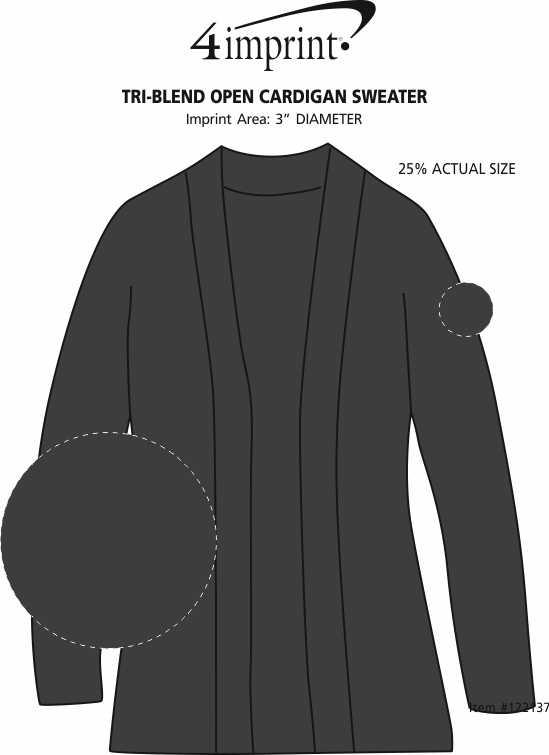 Imprint Area of Tri-Blend Open Cardigan Sweater