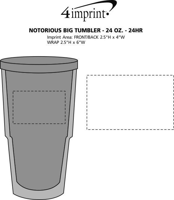 Imprint Area of Notorious Big Tumbler - 24 oz. - 24 hr