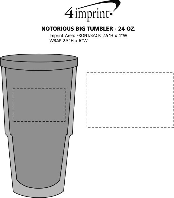Imprint Area of Notorious Big Tumbler - 24 oz.