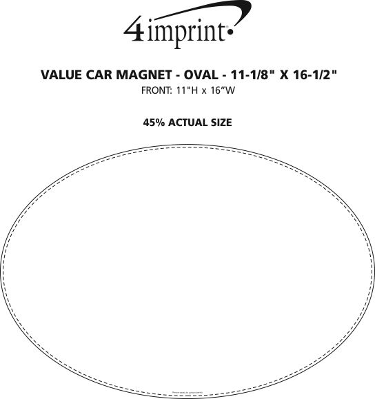 "Imprint Area of Magnetic Car Sign - Oval - 11-1/8"" x 16-1/2"""