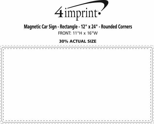 """Imprint Area of Magnetic Car Sign - Rectangle - 12"""" x 24"""" - Rounded Corners"""