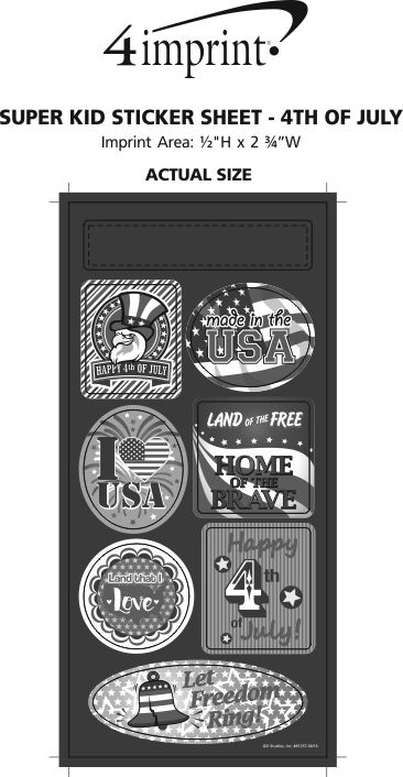 Imprint Area of Super Kid Sticker Sheet - 4th of July