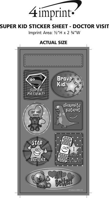 Imprint Area of Super Kid Sticker Sheet - Doctor Visit