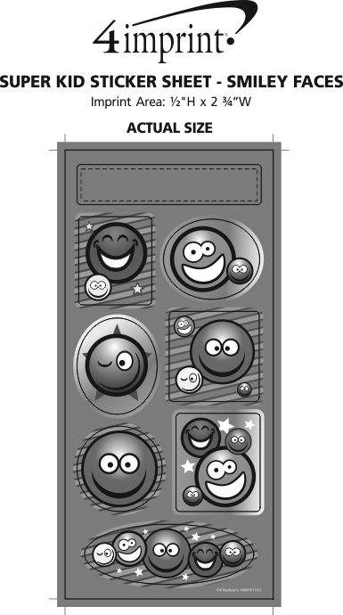 Imprint Area of Super Kid Sticker Sheet - Smiley Faces