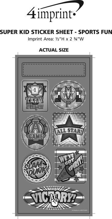 Imprint Area of Super Kid Sticker Sheet - Sports Fun