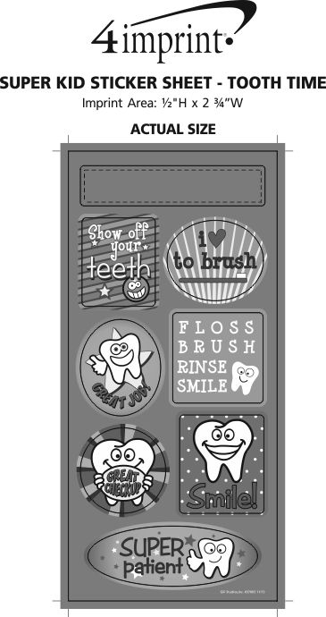 Imprint Area of Super Kid Sticker Sheet - Tooth Time
