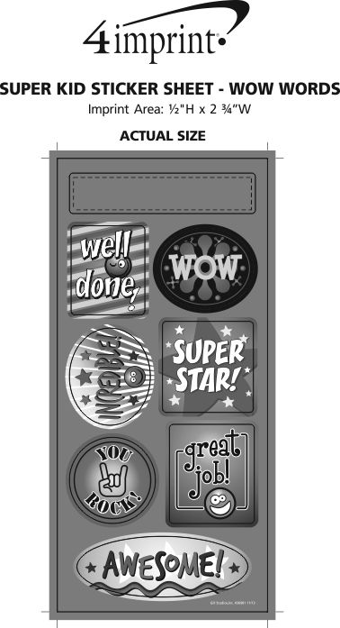 Imprint Area of Super Kid Sticker Sheet - Wow Words