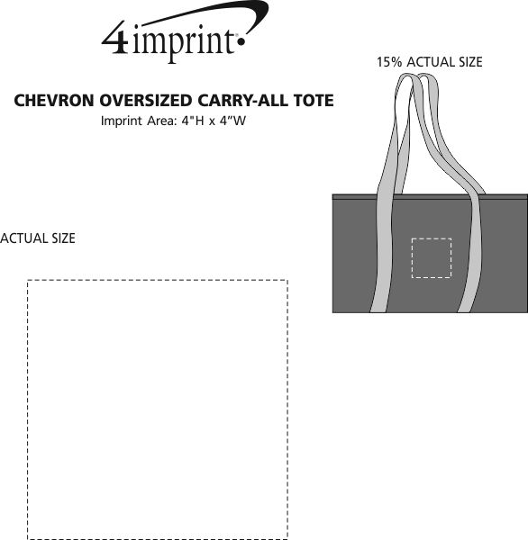 Imprint Area of Chevron Oversized Carry-All Tote - Embroidered