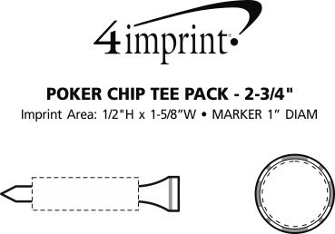 """Imprint Area of Poker Chip Tee Pack - 2-3/4"""""""