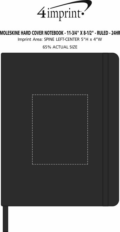 "Imprint Area of Moleskine Hard Cover Notebook - 11-3/4"" x 8-1/2"" - Ruled - 24 hr"