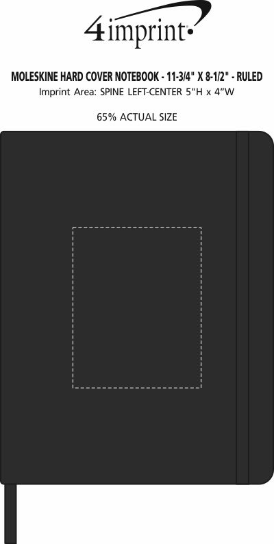"Imprint Area of Moleskine Hard Cover Notebook - 11-3/4"" x 8-1/2"" - Ruled"