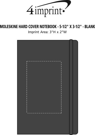 "Imprint Area of Moleskine Hard Cover Notebook - 5-1/2"" x 3-1/2"" - Blank"