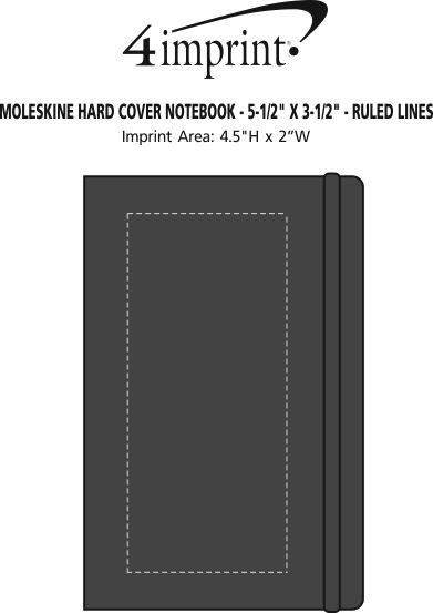 "Imprint Area of Moleskine Hard Cover Notebook - 5-1/2"" x 3-1/2"" - Ruled"