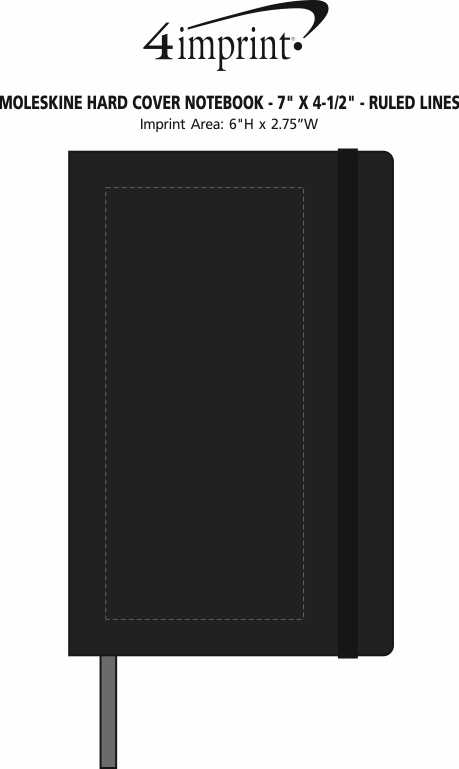 "Imprint Area of Moleskine Hard Cover Notebook - 7"" x 4-1/2"" - Ruled"