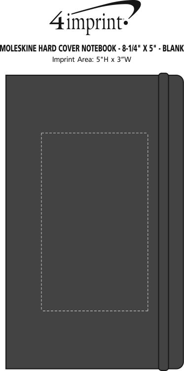 "Imprint Area of Moleskine Hard Cover Notebook - 8-1/4"" x 5"" - Blank"